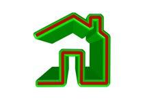 Икона дома на белизне Стоковое Фото