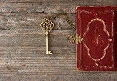 关键和老圣经书套 免版税库存图片