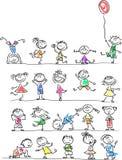 Милые счастливые малыши шаржа, вектор Стоковое Изображение RF