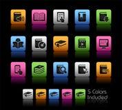 书图标//颜色盒 免版税图库摄影