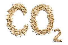 字二氧化碳由木药丸做成 免版税库存图片