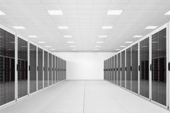 Длинний рядок шкафов сервера Стоковые Изображения RF