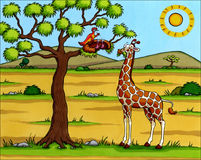 非洲动画片-与鸟的长颈鹿 库存图片