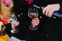 Пары и красное вино Стоковые Фото