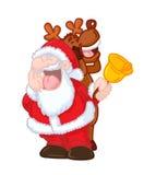 滑稽圣诞老人和驯鹿唱歌 免版税库存照片