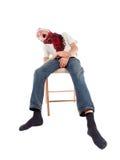 圣诞老人盖帽的少年  免版税库存照片