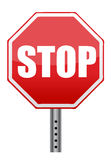 Красный дорожный знак стопа Стоковое Изображение