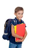 有背包的男小学生 库存照片