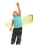 Αγόρι μικρών παιδιών που δείχνει επάνω Στοκ Εικόνες