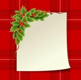 圣诞节与纸张的霍莉装饰 库存图片