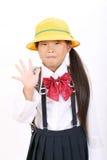 小亚裔女小学生纵向  免版税库存照片