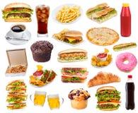 Σύνολο με τα προϊόντα γρήγορου φαγητού Στοκ Εικόνες