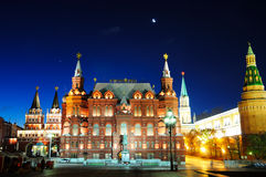 指明俄国的历史博物馆在月亮之下 库存照片