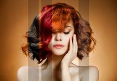 秀丽纵向。 概念着色头发 库存照片