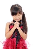 一点亚洲女孩祈祷 免版税图库摄影
