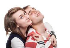 一个女孩的纵向有一个年轻人的 免版税库存照片