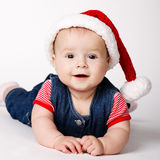 小的逗人喜爱的圣诞老人纵向 库存照片