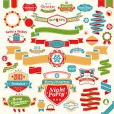 被设置的圣诞节-五颜六色的丝带 免版税库存图片