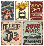 葡萄酒汽车金属符号和海报 免版税库存照片