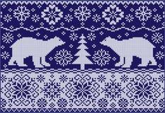 Связанный орнамент с медведями Стоковое Изображение
