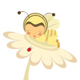 Пчела младенца на цветке Стоковое Изображение