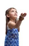 印第安服装作为光的美丽的小女孩 免版税图库摄影