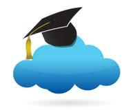 云彩和教育帽子 免版税库存图片