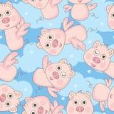 自由愉快的角度猪无缝的模式 图库摄影