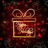 Счастливые праздники в присутствующей коробке Стоковое Изображение RF