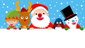 Санта, северный олень, человек снега, эльф и пингвин, рождество Стоковая Фотография RF