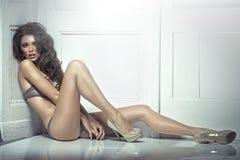 性感的女用贴身内衣裤的美丽的引诱的少妇 免版税库存照片