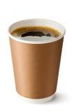 在被开张的热杯子的外卖咖啡 库存照片