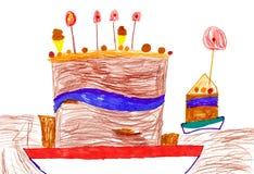 儿童的图画。 大动画片生日蛋糕 免版税库存照片