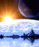 在幻想行星的横向 图库摄影