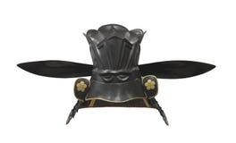 Японский изолированный шлем ратника самураев. Стоковое Изображение