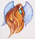 红头发人天使,水彩绘画 库存照片