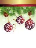 Διανυσματική εικόνα ανασκόπησης Χριστουγέννων με τις σφαίρες Στοκ Φωτογραφία