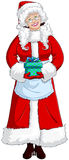 圣诞老人夫人拿着圣诞节的存在 免版税库存照片