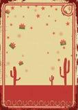 Рождественская открытка ковбоя с рамкой веревочки для текста Стоковая Фотография RF