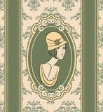 有花的美丽的妇女 免版税库存照片