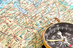 Πυξίδα και χάρτης Βόρεια Αμερική Στοκ φωτογραφίες με δικαίωμα ελεύθερης χρήσης