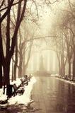 冬天胡同在傲德萨,乌克兰。 免版税库存图片