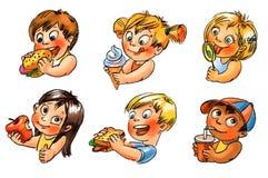 Το παιδί τρώει. Χρωματισμένη χέρι απεικόνιση Στοκ εικόνα με δικαίωμα ελεύθερης χρήσης