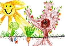 儿童画。 晴天和猫头鹰 免版税库存图片