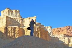 在死海的海岸的照片。 库存照片