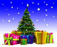 Χριστουγεννιάτικο δέντρο με το χιόνι Στοκ Εικόνα