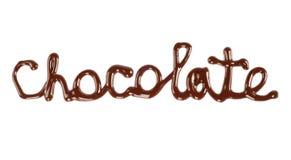 巧克力字由液体巧克力制成 免版税库存图片