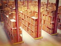 Αποθήκη εμπορευμάτων τρισδιάστατη Στοκ Εικόνες