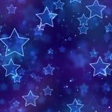 无缝的背景发光的蓝色霓虹星形 库存图片