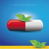 自然医学药片和绿色叶子 图库摄影